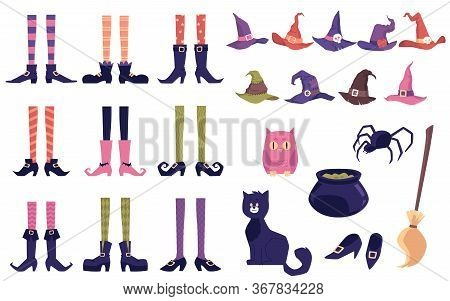 Set Halloween Icons Of Witch Magical Tools, Flat Vector Illustration Isolated.