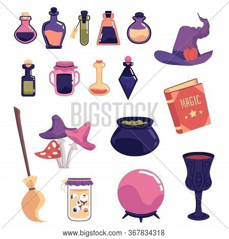 Witch Object Set - Spooky Magic Equipment Vector Illustration.