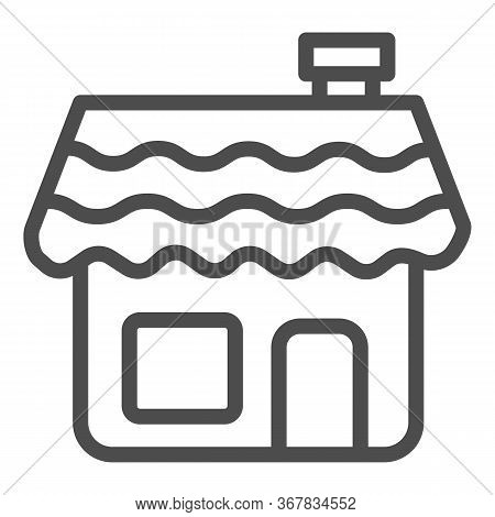 Gingerbread House Line Icon, Bakery Concept, Gingerbread Cookie Sign On White Background, Holiday Co