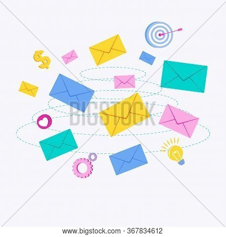 Flying Color Envelope With Letter. Email And Mailing List. Marketing Communications And Advertising.