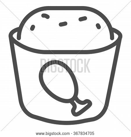 Meat Muffin Line Icon, Bakery Concept, Cupcake With Chicken Sign On White Background, Fast Food Muff