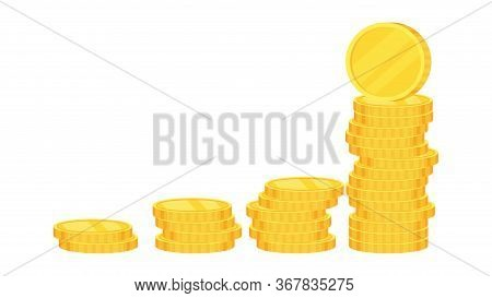 Coins. Heap Of Gold Dollars. Coins Stack. Financial Gain, Income. Salary And Savings. Bank Loan And
