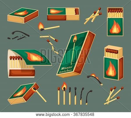 Match Flammable Set. An Open Matchbox Full Of Boxes, Close-up With A Fire Icon, A Burning Sulfuric M