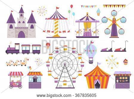 Amusement Park Set. Colorful Carousel With Horses, Ferris Wheel, Fun On Aroller Coaster, Orange Ice