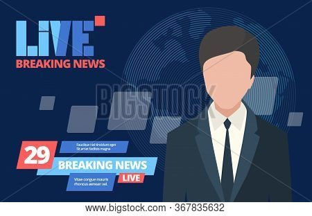 News Breaking Concept. Leading Newsreader News Program, Daily Live Tv Broadcast Entertainment Report