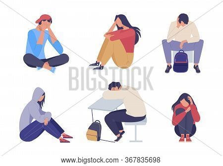 Sad Depressed People. Unhappy Young Girl Guy Sitting Sadness And Despair, Expression Loneliness Pain