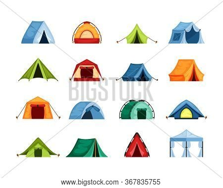 Camping Set Tent . Tourist Tent With A Canopy, Reinforced With A Rope With A Peg, The Shape Of A Nyl