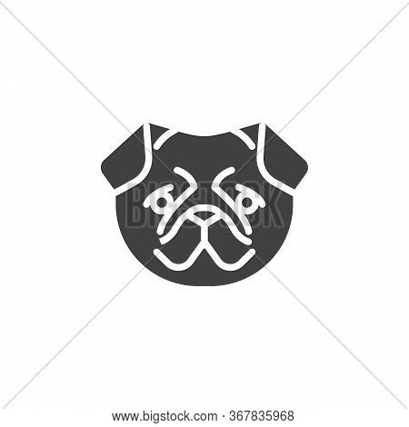 Pug Dog Face Vector Icon. Filled Flat Sign For Mobile Concept And Web Design. Pug Dog Breed Glyph Ic