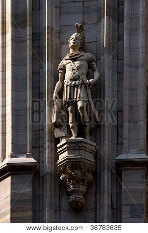 a roman soldier in the front of the dome of milan poster