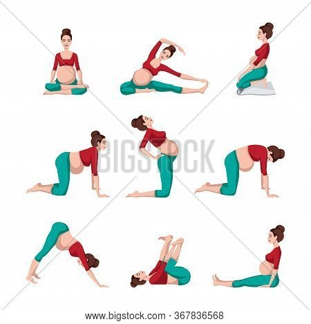 Pregnant Females In Sportswear While Doing Yoga. Set Yoga For Pregnant. Meditation. Relaxation. Vect