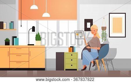 Woman Reading Daily News On Tablet Pc Screen Press Mass Media Newspaper Concept Girl Sitting On Armc