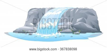 River Waterfall Falls From Cliff In Side View Isolated Illustration, Picturesque Tourist Attraction