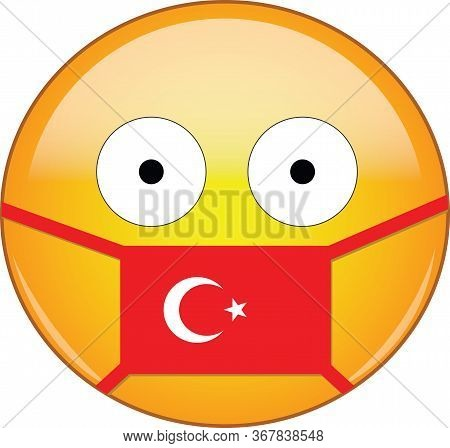 Yellow Scared Emoji In Turkish Medical Mask Protecting From Sars, Coronavirus, Bird Flu And Other Vi