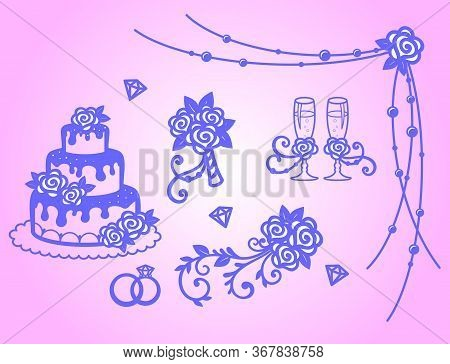 Set For Wedding Decor. Stemware, Bride's Bouquet, Rose, Wedding Cake, Wedding Rings. Elements For De