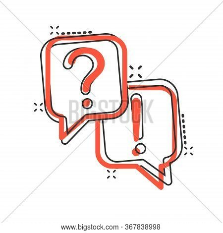 Question And Answer Icon In Comic Style. Dialog Speech Bubble Cartoon Vector Illustration On White I