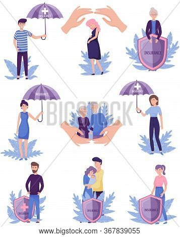 People Characters Under Umbrellas And Behind Shields As Symbol Of Insurance Service For Proper Healt