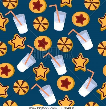 Pattern Cookies And Milk. Vector Illustration On A Blue Background. A Pattern Of Different Types Of