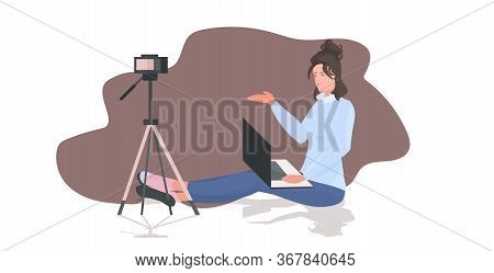 Woman Blogger Recording Video Blog Using Camera On Tripod Live Streaming Social Media Network Bloggi