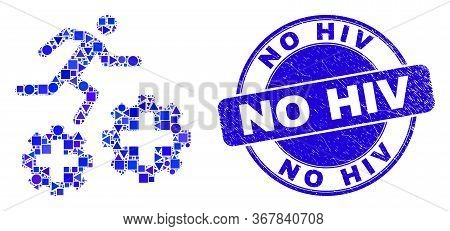 Geometric Running Patient On Gears Mosaic Icon And No Hiv Stamp. Blue Vector Rounded Distress Seal S