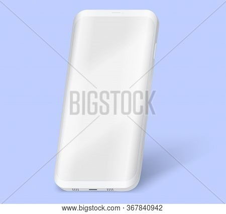 Smartphone Ui Presentation Mockup. Example Frameless White Model Smartphone With Touchscreen Showcas