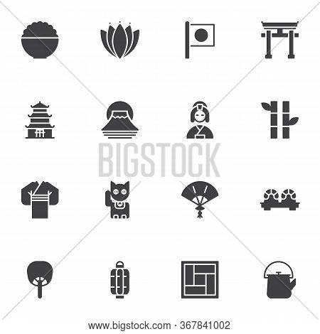 Japanese Culture Vector Icons Set, Modern Solid Symbol Collection, Filled Style Pictogram Pack. Sign