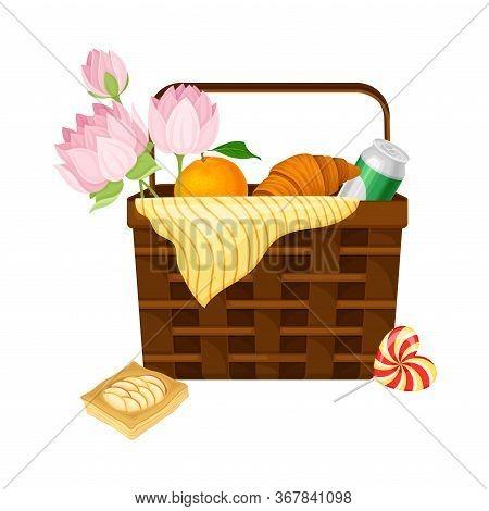 Wicker Picnic Basket Or Hamper Full With Foodstuff Vector Illustration