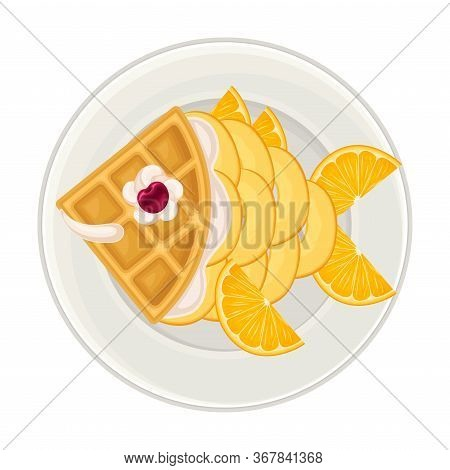 Foodstuff Arranged In The Shape Of Fish On Plate Above View Vector Illustration