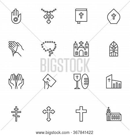 Religion Line Icons Set, Christianity Outline Vector Symbol Collection, Linear Style Pictogram Pack.