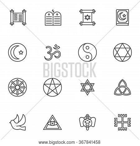 Religion Line Icons Set, Outline Vector Symbol Collection, Linear Style Pictogram Pack. Signs, Logo