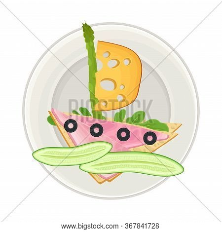 Sandwich With Foodstuff Arranged In The Shape Of Ship On Plate Above View Vector Illustration