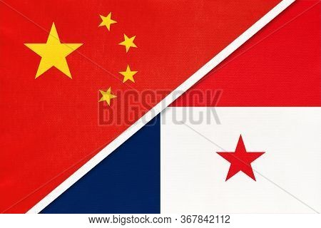 People's Republic Of China Or Prc And Panama, Symbol Of Two National Flags From Textile. Relationshi
