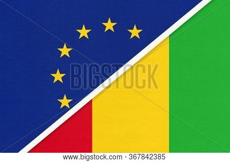 European Union Or Eu And Guinea National Flag From Textile. Symbol Of The Council Of Europe Associat