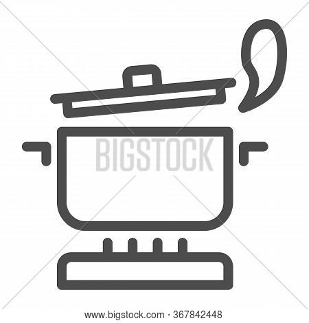 Pan With Steam On The Gas Stove Line Icon, Cooking Concept, Saucepan On Fire Sign On White Backgroun
