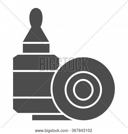 Scotch Tape And Glue Solid Icon, Stationery Concept, Gluing Tools Sign On White Background, Adhesive