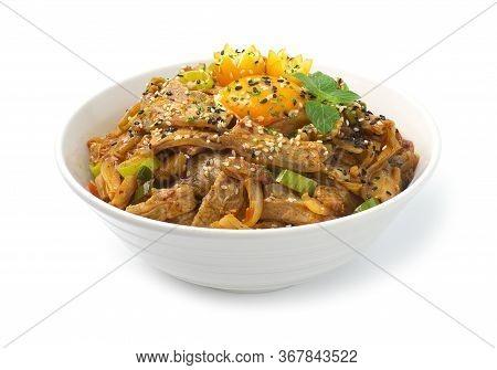 Kimchi Stir Fried With Pork On Rice Korean Food