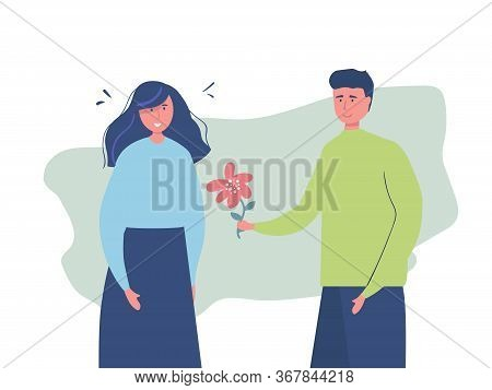 Man Woman Cartoon Characters, Romantic Date, Flower Symbols Of Love. Couple Romance, Valentine Day.