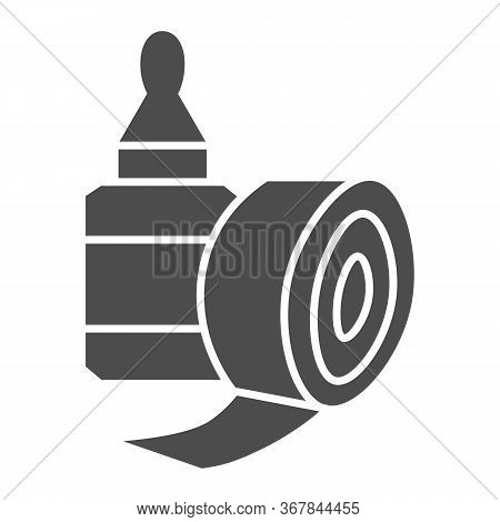 Sticky Tape And Glue Bottle Solid Icon, Stationery Concept, Gluing Tools Sign On White Background, S