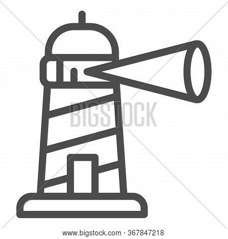 Beacon Building Line Icon, Maritime Navigation Concept, Spotlight In Lighthouse Sign On White Backgr