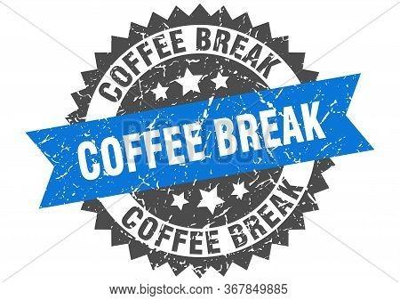 Coffee Break Grunge Stamp With Blue Band. Coffee Break