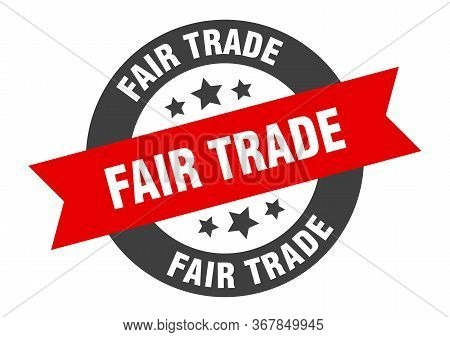 Fair Trade Sign. Fair Trade Black-red Round Ribbon Sticker