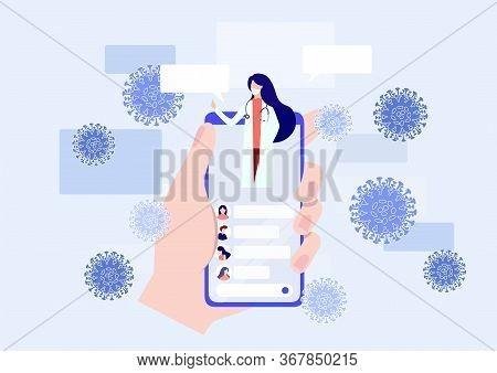 Online Doctor Consultation Via Your Smartphone Concept. Doctor Online Landing Page Vector. Coronavir