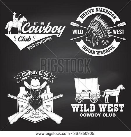 Set Of Cowboy Club Badge On Chalkboard. Wild West Vector Illustration. Concept For Shirt, Logo, Prin