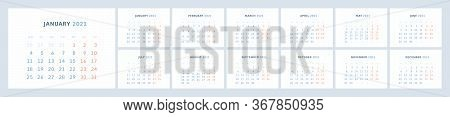 Wall Quarterly Calendar Template For 2021 In A Modern Minimalist Style. Week Starts On Monday. Set O