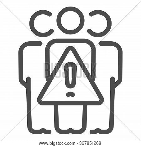 Avoid Crowds Line Icon, Coronavirus Prevention Concept, Keep Social Distance Sign On White Backgroun