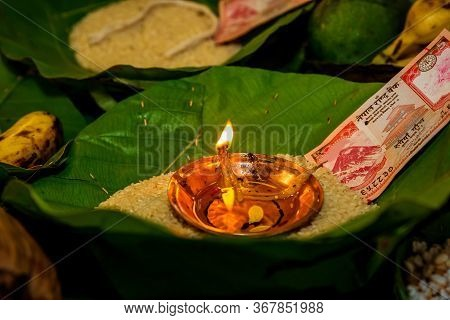 Oil Lamp Burning During Puja According To Hindu Rituals. Hindu Religion Background