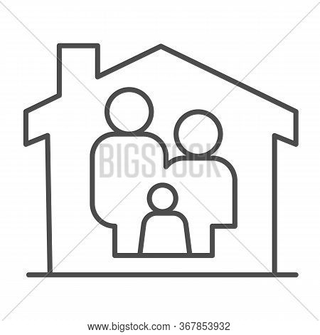 Family In House Thin Line Icon, Family At Home Concept, Parents And Child Sign On White Background,