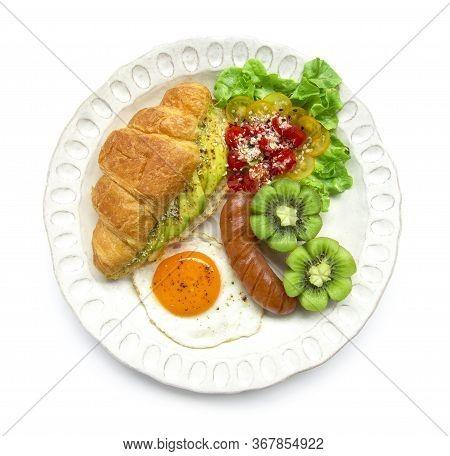 Breakfast Set With Croissant Inside Avocado Salad Black Pepper