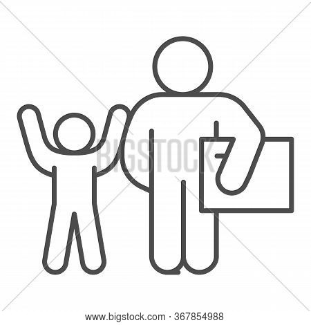 Father And Child With Gift Thin Line Icon, Children Holiday Concept, Adult Man With Present For Chil