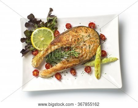 Salmon Steak With Black  Peppers And Salt