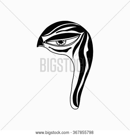 Mystical Bird S Head.talisman. Witchcraft, A Witch S Tool. Isolated Vector Drawing Of A Bird Icon.si